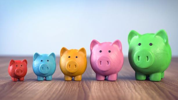 Different colour piggy banks lined up showing the growth of allowances