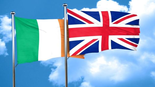Ireland flag with Great Britain flag